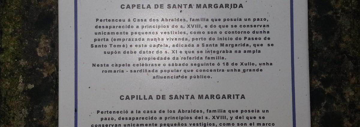 Placa de la Capela de Santa Margarida